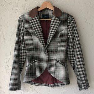 H & M houndstooth blazer wool blend size 2 brown , red , black